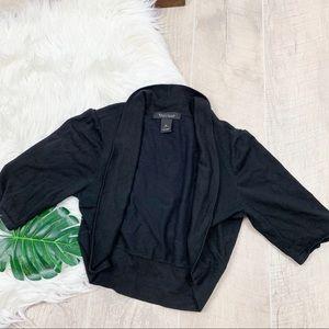 WHBM Black Open Cropped Knit Shrug Cardigan Med